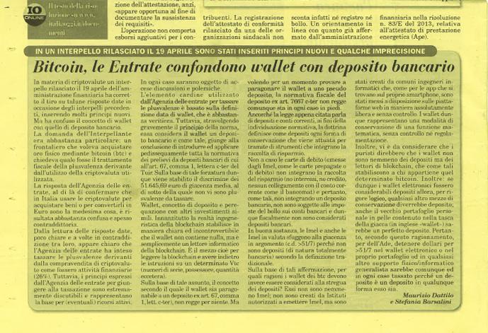 Studio Dattilo - Italia Oggi Bitcoin